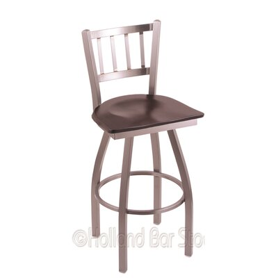 Contessa 25 inch Swivel Bar Stool Upholstery: Dark Cherry Maple, Base Finish: Stainless