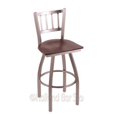 Contessa 30 Swivel Bar Stool Upholstery: Dark Cherry Oak, Base Finish: Stainless