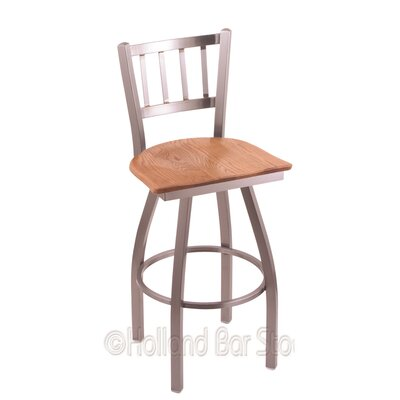 Contessa 36 Swivel Bar Stool Upholstery: Medium Oak, Base Finish: Stainless