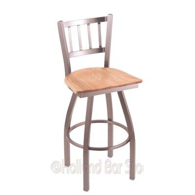 Contessa 25 Swivel Bar Stool Upholstery: Natural Oak, Base Finish: Stainless