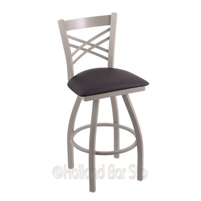 Catalina 30 Swivel Bar Stool Finish: Anodized Nickel, Upholstery: Allante Dark Blue