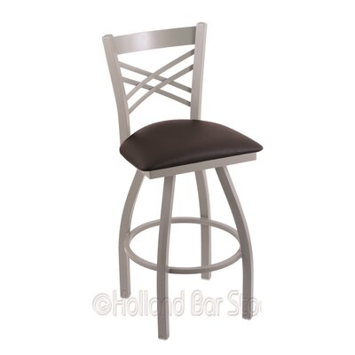 Catalina 25 Swivel Bar Stool Finish: Anodized Nickel, Upholstery: Allante Espresso