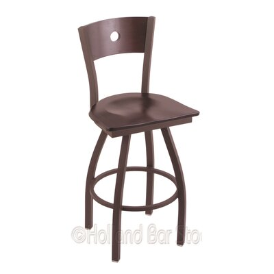 Voltaire 25 Swivel Bar Stool Base Finish: Bronze, Upholstery: Dark Cherry Maple