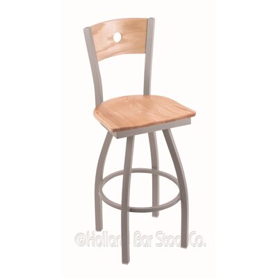 Voltaire 36 Swivel Bar Stool Base Finish: Anodized Nickel, Upholstery: Natural Oak