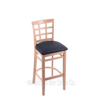 30 Bar Stool Upholstery: Allante Dark Blue, Finish: Natural