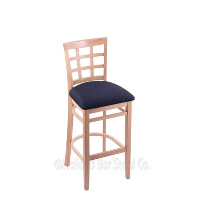 25 Bar Stool Finish: Natural, Upholstery: Axis Denim