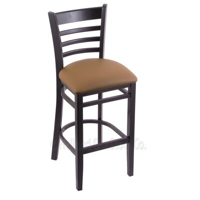 25 inch Bar Stool Finish: Black, Upholstery: Allante Beechwood