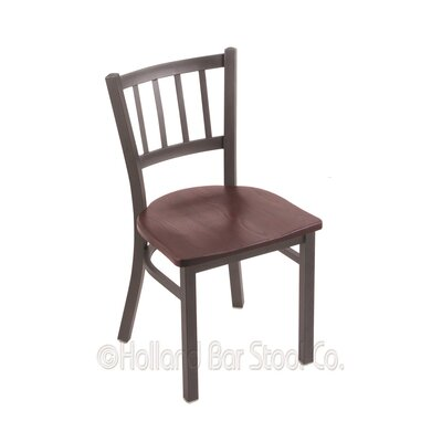 Contessa Solid Wood Dining Chair Upholstery: Dark Cherry Oak, Base Finish: Pewter
