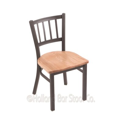 Contessa Solid Wood Dining Chair Upholstery: Natural Oak, Base Finish: Pewter