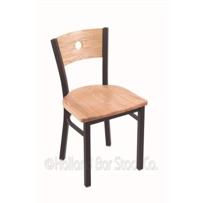 Voltaire Solid Wood Dining Chair Base Finish: Black Wrinkle, Upholstery: Natural Oak