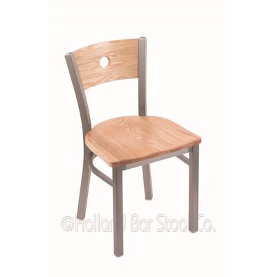 Voltaire Solid Wood Dining Chair Upholstery: Natural Oak, Base Finish: Stainless
