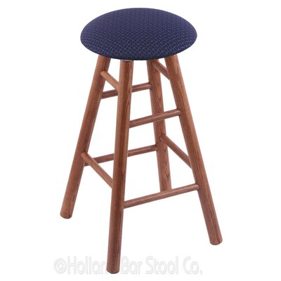 24 Swivel Bar Stool Finish: Medium Oak, Upholstery: Axis Denim
