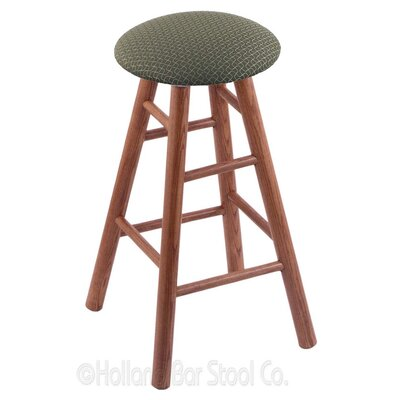 36 Swivel Bar Stool Finish: Medium Oak, Upholstery: Axis Grove
