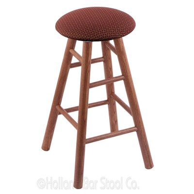 24 Swivel Bar Stool Finish: Medium Oak, Upholstery: Axis Paprika