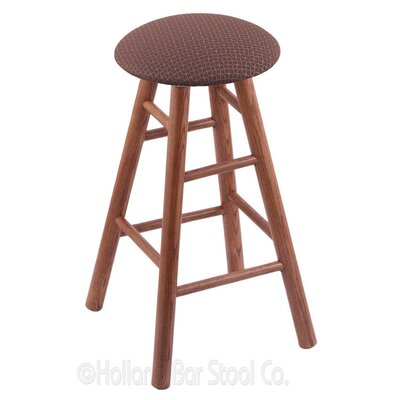 36 Swivel Bar Stool Finish: Medium Oak, Upholstery: Axis Willow