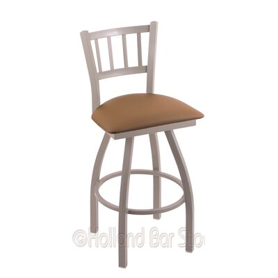 Contessa 25 Swivel Bar Stool Finish: Anodized Nickel, Upholstery: Allante Beechwood