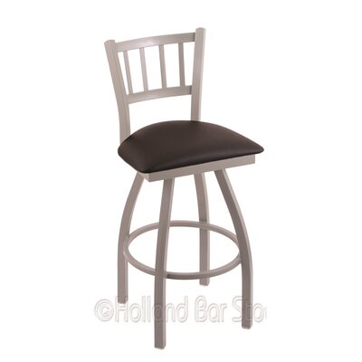 Contessa 36 Swivel Bar Stool Finish: Anodized Nickel, Upholstery: Allante Espresso