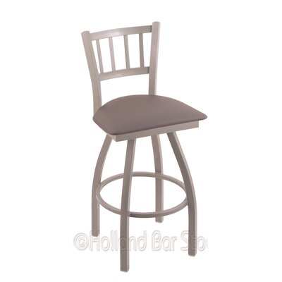 Contessa 25 Swivel Bar Stool Finish: Anodized Nickel, Upholstery: Allante Medium Grey