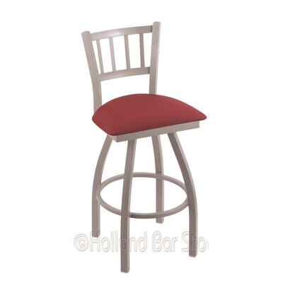 Contessa 25 Swivel Bar Stool Finish: Anodized Nickel, Upholstery: Allante Wine