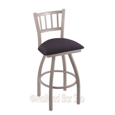 Contessa 25 Swivel Bar Stool Finish: Anodized Nickel, Upholstery: Axis Denim