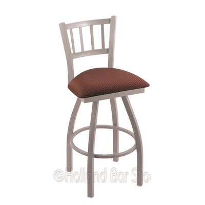 Contessa 30 Swivel Bar Stool Finish: Anodized Nickel, Upholstery: Axis Paprika