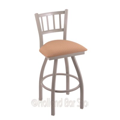 Contessa 30 Swivel Bar Stool Finish: Anodized Nickel, Upholstery: Axis Summer