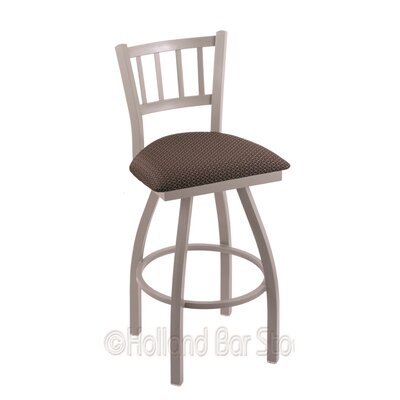 Contessa 30 Swivel Bar Stool Finish: Anodized Nickel, Upholstery: Axis Truffle