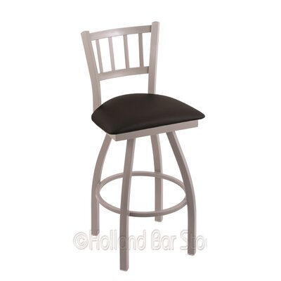 Contessa 25 Swivel Bar Stool Finish: Anodized Nickel, Upholstery: Black Vinyl