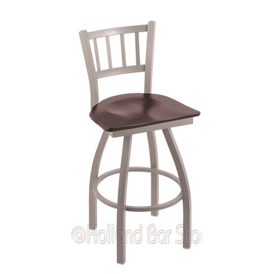 Contessa 25 Swivel Bar Stool Base Finish: Anodized Nickel, Upholstery: Dark Cherry Maple