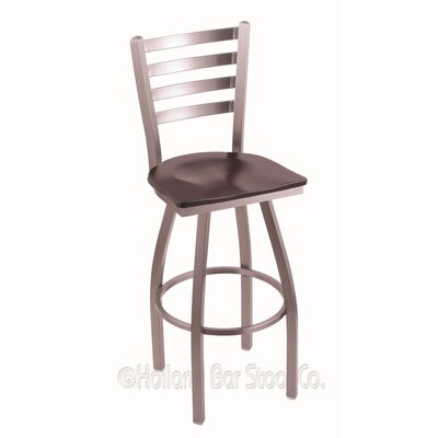 Jackie 25 Swivel Bar Stool Base Finish: Stainless, Upholstery: Dark Cherry Maple