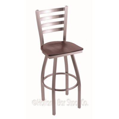 Jackie 36 inch Swivel Bar Stool Upholstery: Dark Cherry Oak, Base Finish: Stainless