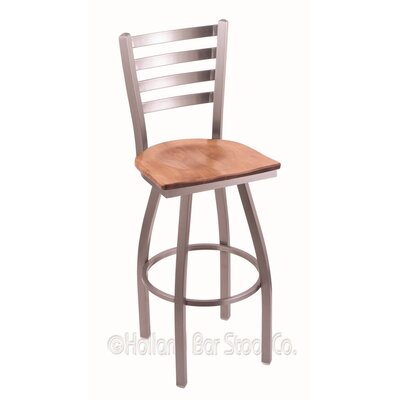 Jackie 25 inch Swivel Bar Stool Base Finish: Stainless, Upholstery: Medium Maple