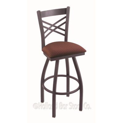 Catalina 30 Swivel Bar Stool Finish: Pewter, Upholstery: Axis Paprika