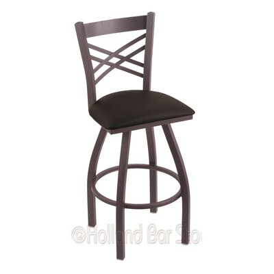 Catalina 36 Swivel Bar Stool Finish: Pewter, Upholstery: Black Vinyl