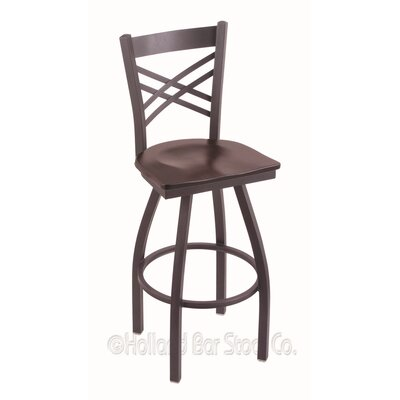 "Image of Catalina 30"" Swivel Bar Stool Base Finish: Pewter, Upholstery: Dark Cherry Maple"