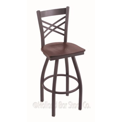 Catalina 30 Swivel Bar Stool Base Finish: Pewter, Upholstery: Dark Cherry Oak