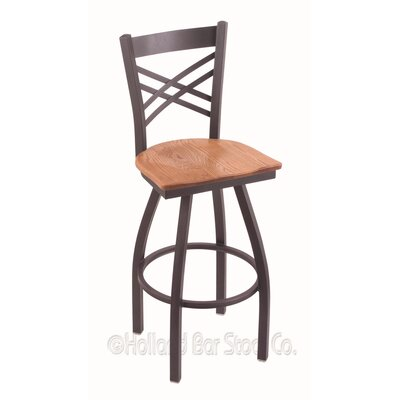 Catalina 30 Swivel Bar Stool Base Finish: Pewter, Upholstery: Medium Oak