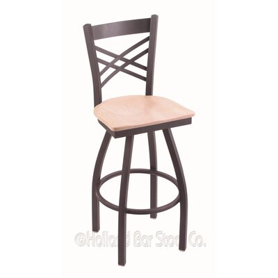 Catalina 30 Swivel Bar Stool Base Finish: Pewter, Upholstery: Natural Maple