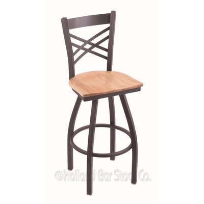 Catalina 30 Swivel Bar Stool Base Finish: Pewter, Upholstery: Natural Oak