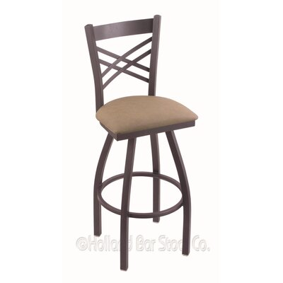 Catalina 36 Swivel Bar Stool Finish: Pewter, Upholstery: Rein Thatch