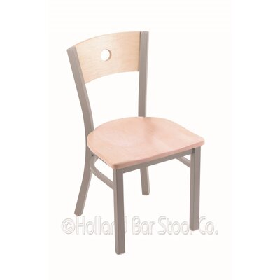 Voltaire Solid Wood Dining Chair Base Finish: Anodized Nickel, Upholstery: Natural Maple