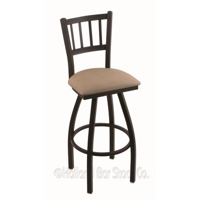Contessa 36 Swivel Bar Stool Finish: Black Wrinkle, Upholstery: Rein Thatch