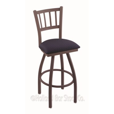 Contessa 30 Swivel Bar Stool Finish: Bronze, Upholstery: Axis Denim