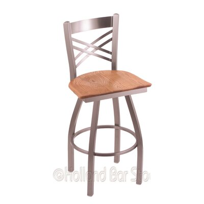 Catalina 25 Swivel Bar Stool Upholstery: Medium Oak, Base Finish: Stainless