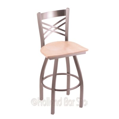 Catalina 30 Swivel Bar Stool Upholstery: Natural Maple, Base Finish: Stainless