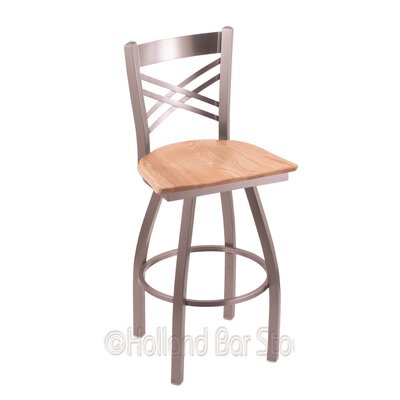 Catalina 30 inch Swivel Bar Stool Base Finish: Stainless, Upholstery: Natural Oak
