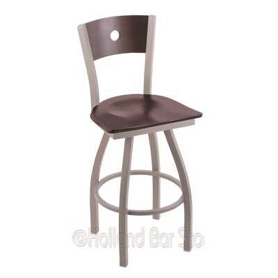 Voltaire 25 Swivel Bar Stool Base Finish: Anodized Nickel, Upholstery: Dark Cherry Maple