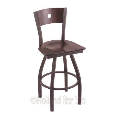 Voltaire 30 Swivel Bar Stool Base Finish: Pewter, Upholstery: Dark Cherry Maple