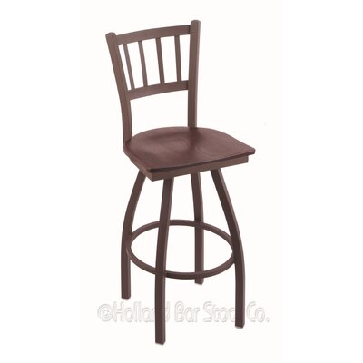 Contessa Swivel Bar Stool Base Finish: Bronze, Upholstery: Dark Cherry Oak
