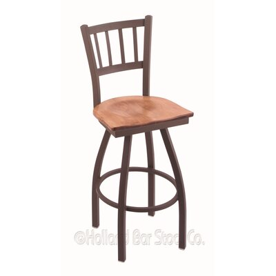 Contessa Swivel Bar Stool Base Finish: Bronze, Upholstery: Medium Maple